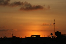 Sunset and the City.Manta, Ecuador
