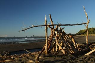 Beach hut.Ahu Ahu, Taranaki, New Zealand